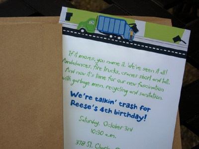 Trash talkin our way through a birthday pink peppermint the blog garbage party invitation stopboris Image collections