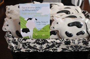 cow cookies and invitation