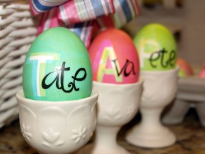 Stenciled Eggs with Stickers