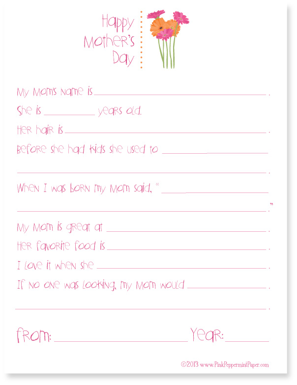 picture relating to Mother's Day Questionnaire Printable named Moms Working day Printable Questionnaire Red Peppermint, the website