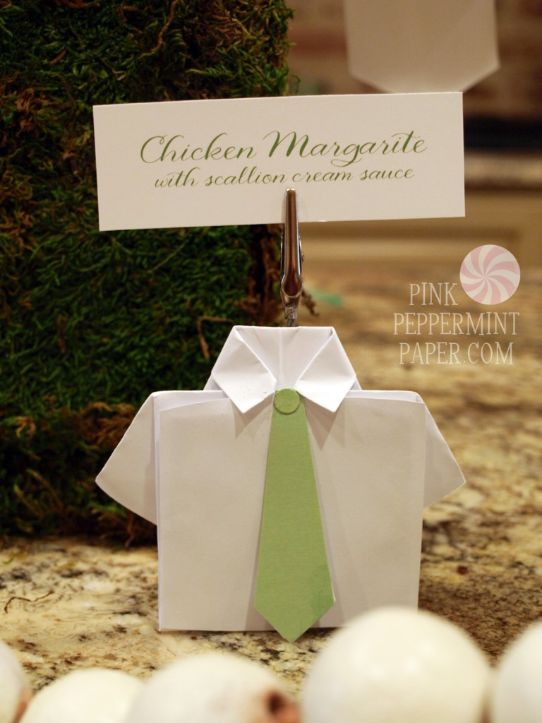 Folded Paper Menu Card Holders for First Communion