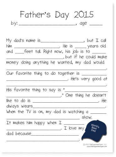 Free Father's Day Printable from PinkPeppermintPaper.com