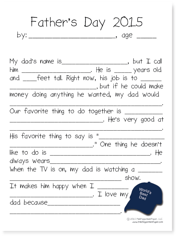 graphic relating to Father's Day Fill in the Blank Printable titled Fathers Working day Printable Keepsake Crimson Peppermint, the blog site